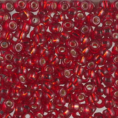 Silver Lined Ruby: Miyuki Seed Bead 6/0 - Size 6/0