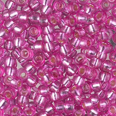 Duracoat Silver Lined Dyed Pink Parfait: Miyuki 6/0 Seed Beads -