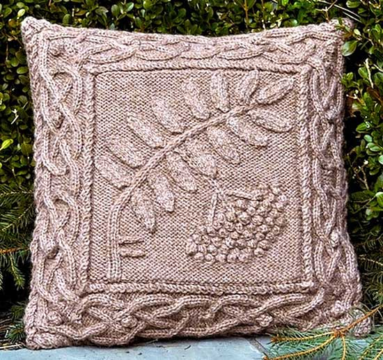 Celtic Rowan Pillow/ Pattern/ Celtic Botanical Knits, Earthfaire