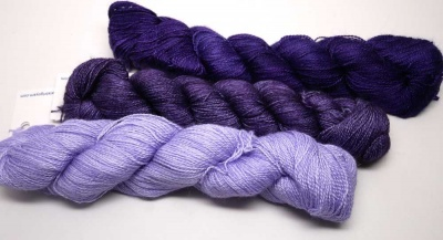 Silkpaca:  The Periwinkle is the one on the bottom, the Violetas is in the middle, and the Purple Mystery (the darkest) on top.