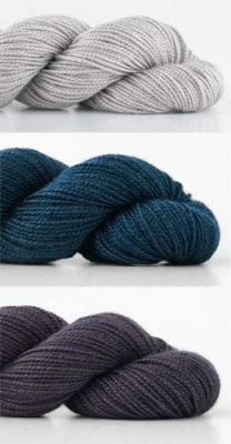 Top is Ash, middle is Deep Water, and bottom skein is Dusk.