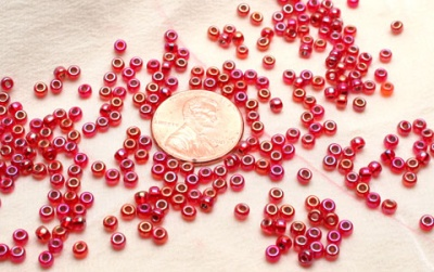 Silver Lined Flame Red AB Miyuki 8/0 Seed Bead - Size 8/0