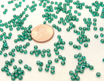 Silver Lined Teal Miyuki 8/0 Seed Beads - Size 8/0