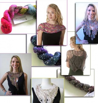 The designs that follow use patterns that require just one skein of the Beaded Silk & Sequins (booklet with 8 patterns).