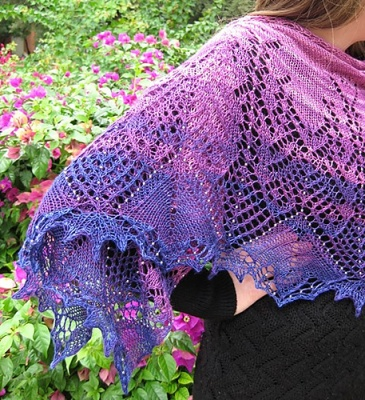 The shawl as knit in the Enchanted Garden colorway.