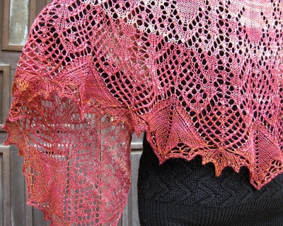 The shawl as knit in Treasure Chest.