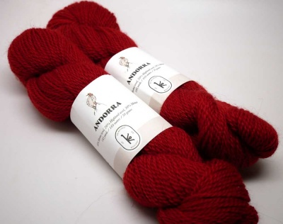 Andorra Yarns:  Holly Red, Ink Black, Sunshine Yellow - Fingering/Sock weight