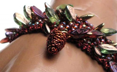 Autumn's Glory/ Bracelet With Special Pine Cone - Jewelry Creations