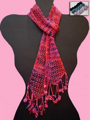 Beaded Garden Party Scarf/ Kit of Koigu+Beads+Free Pattern