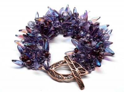 Lilacs of Spring:  A Bird of Paradise Bracelet - Jewelry Creations