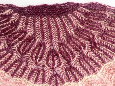 A close-up of the beginning of Sandra's original shawl.