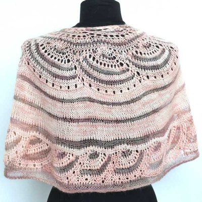 The Chain Link Shawl as knit in the pink kit (not offered here).