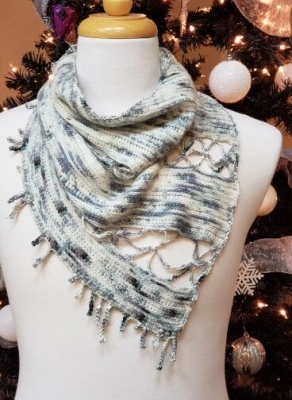 The crocheted shawl:  Reflections of Snow and Ice