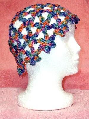 Crocheted Flower Juliette Hat/ with crystal beads -