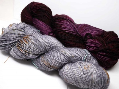 Our kit -- can you see the silver threads amidst the Dead Calm skein?