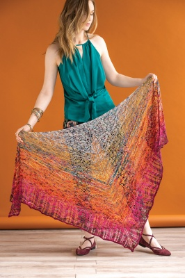 This Departure shawl uses one pencil box (the original shown here knit in Romantique).