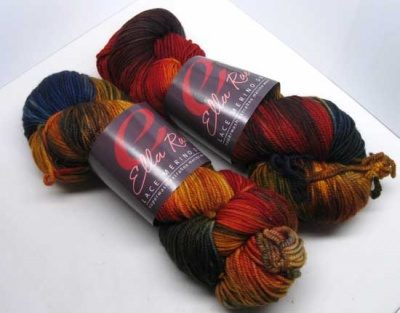 This is our Red/Orange/Yellow/Blue Dragon colorway in Ella Rae DK -- two skeins are shown so you see all the colors in the colorway though only one will be in each kit.