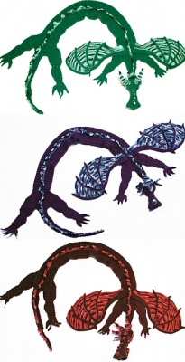 Some of MyntKat's original dragon scarves.