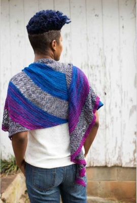 The shawl as knit with Arda + Vulcan.