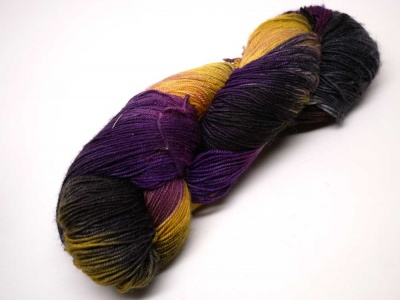 Ella Rae Lace Merino #148:  black, purple, yellow gold
