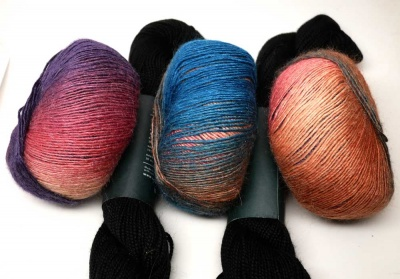 Kit A will include one skein each of Embrace and Abyss.