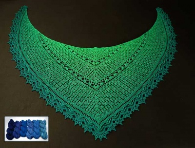 Emerald Island/ Crochet Shawl With Beads/ Kits