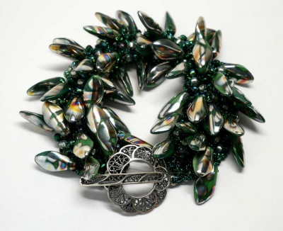 Evergreen Bracelet/ Variation on Flying Feathers