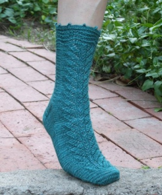 Fiddlehead Socks/ Pattern from Sivia Harding/ Bead Option - Socks