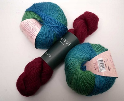 Our kit will have one of the Amitola balls and one skein of the Birch.