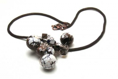 Floating Gemstone Necklace III/ Smoky Quartz + Fired Agate -
