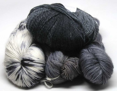 An example of a Neutral grab bag -- with gray, black, cream, and variations within that color idea.