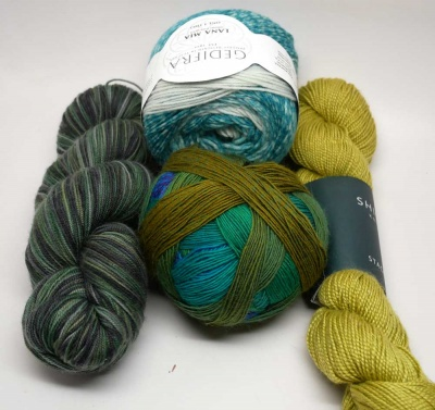 Examples of yarn that might be part of a Green Set