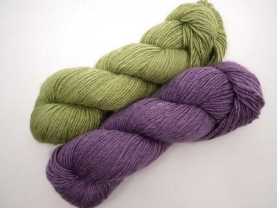 Kit A will have two of each of these skeins, Pistachio and Groovy Grape.