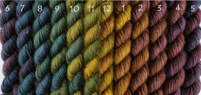 Harvest Moon (The numbers show the order in which they move one color to the next if you knit them as they were dyed.)
