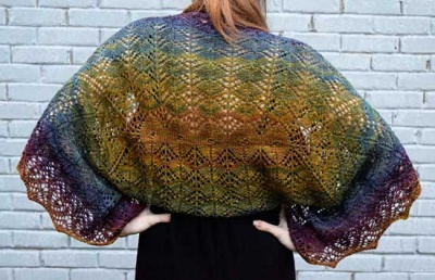The back of the shawl as knit in Harvest Moon; notice the intriguing stitch work.