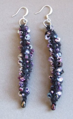 Beads on the Vine/Earrings/an I-Cord Design by Sivia and Ellen - Jewelry Creations