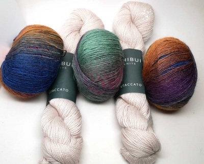Kit B will include one skein each of Iridescent and Bone.