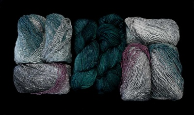 Our Kit A:  two skeins of the Silk Garden + one of the Rios.