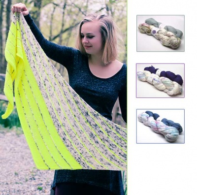 Kline Shawl/ 3 Kits in Shepherd Sock