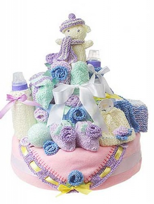 How to Make a Knitted Nappy Cake/ Pattern -