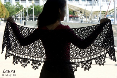 Laura/ Beaded Crochet Shawl/ Pattern -