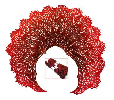 Maris Stella Shawl/ Beaded Kit:TUS Gradiance in Reds