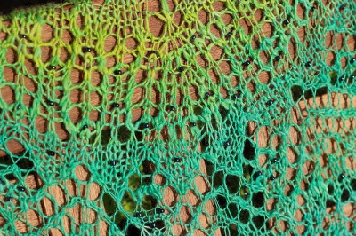 A close-up of Anna's original shawl; you can see the beads here.