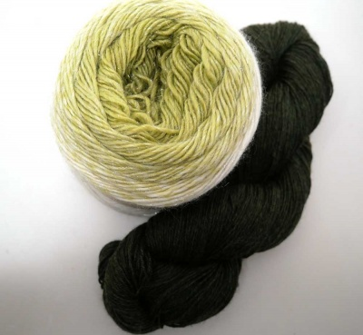 Olive Tapenade in Paradigm + Seaweed in Ella Rae Heathered Merino