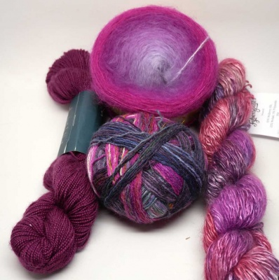 Examples of yarns you might find in a Pink/Rose Set