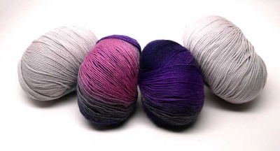 Kit A including Rialto 4 Ply in Stone plus the Darling in black-merlot-purple