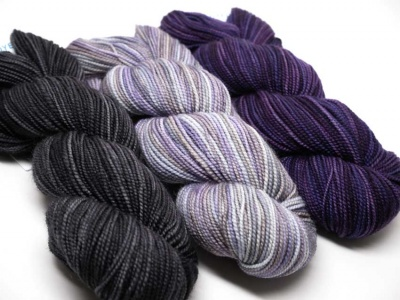 From left to right:  Ebony, Fog, and Plum Dandy