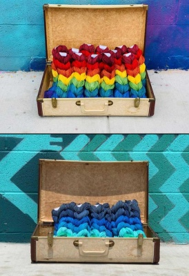 Squishy Skeinette Chains: Rainbow or Ocean Blues - Fingering/Sock weight