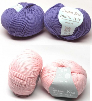 Rialto 4-Ply/ from Debbie Bliss/ Iris or Vintage Pink - Fingering/Sock weight