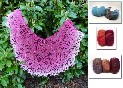 Rosarian Lace Shawl:  Beaded Kits in Rialto Luxury